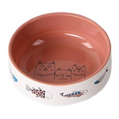 """Миска 12,5см 380мл JOY """"Коты с рыбками"""" керамическая для кошек цвет в ассортименте - фото 4603"""