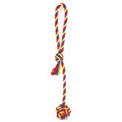Мяч плетеный 6см JOY на веревке 40см, синий желтый красный текстильная игрушка для собак - фото 4635