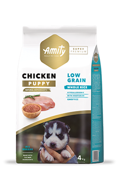 Корм 4кг AMITY SUPER PREMIUM LOW GRAIN PUPPY  курица для щенков (04PE040079) - фото 4659