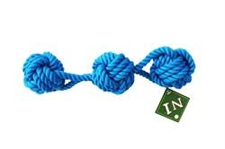 Грейфер 30см с тремя узлами ,цвет в ассортименте для собак (ГР256/зел/крас/син) - фото 4668