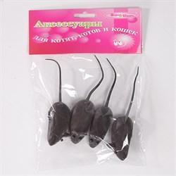 Мышь 5см Шурум-Бурум бархатная серая игрушка для кошек (уп.4шт) (CT12048) - фото 4736