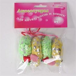 Мышь 6см Шурум-Бурум текстильная игрушка для кошек (уп.4шт) (CT12051) - фото 4738