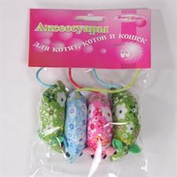 Мышь с цветами 5см Шурум-Бурум текстильная игрушка для кошек (уп.4шт) (CT12075) - фото 4744