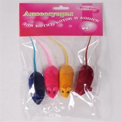 Мышь 6см Шурум-Бурум велюровая игрушка для кошек (уп.4шт) (CT14179) - фото 4748