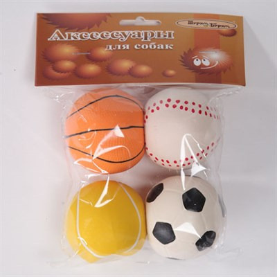 Мяч 6см Шурум-Бурум набор 4шт латесная игрушка для собак (LT19001 6cm) - фото 4795