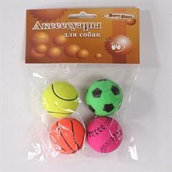 Мяч спортивный 4см Шурум-Бурум набор 4шт игрушка для собак (WP-C40) - фото 4796