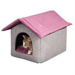 Дом со съемной крышей 53х41х39см JOY серо-фиолетовый для кошек - фото 5042