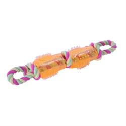 Цилиндр двойной на канате 28х5см Шурум-Бурум желтая резиновая игрушка для собак (А1014-2) - фото 5153