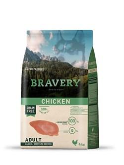 Корм 4кг BRAVERY курица для собак крупных и средних пород - фото 5231