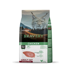 Корм 2кг BRAVERY курица для стерилизованных кошек - фото 5248