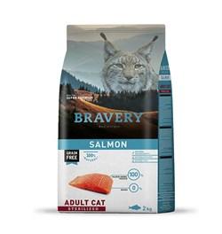 Корм 2кг BRAVERY лосось для стерилизованных кошек - фото 5254