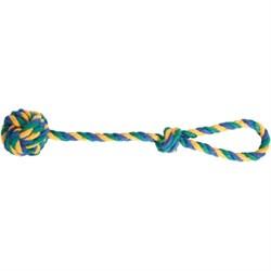 Мяч плетеный 6см на веревке 40см JOY синий желтый зеленый текстильная игрушка для собак - фото 5384