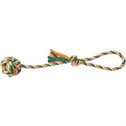 Мяч плетеный 7см JOY на веревке 45см  текстильная игрушка для собак - фото 5410