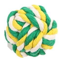 Мяч плетеный 7см JOY текстильная игрушка для собак - фото 5411