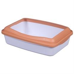 Туалет 41х31х13см Шурум-Бурум белый с оранжевым бортиком для кошек (Р952)  - фото 5518