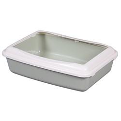 Туалет 41х30х11,7см Шурум-Бурум серый с бортиком для кошек (А951) - фото 5521