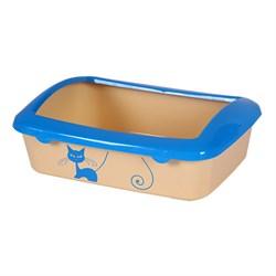 Туалет 40,6x28,5x14см Шурум-Бурум с голубым бортиком для кошек (Р547-A) - фото 5570