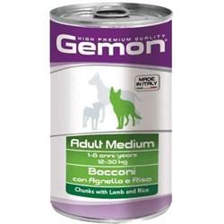 Корм 1250г GEMON кусочки ягненка с рисом для собак средних пород ж/б (70387910) - фото 5593