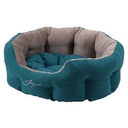 Лежанка круглая 50х40х20см JOY бирюзовая для собак - фото 5663