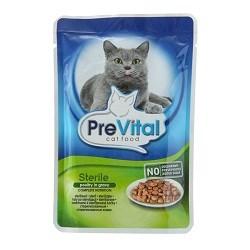 Корм 100г PreVital с птицей в соусе для стерилизованных кошек (00700072) - фото 5748