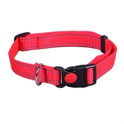Ошейник 25мм, 45-70см L JOY стропа красная со светоотражающими элементами для собак - фото 5774