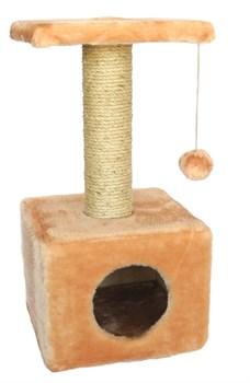 Домик квадратный 30х30х60см Шурум-Бурум бежевый для кошек - фото 6124