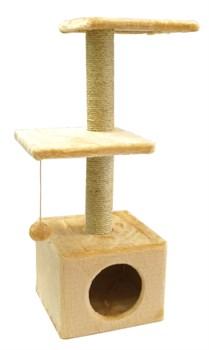 Домик две площадки 36х36х100см Шурум-Бурум бежевый для кошек - фото 6126