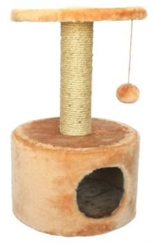 Домик круглый 38х38х60см Шурум-Бурум бежевый для кошек - фото 6130