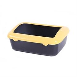Туалет 40х29х14см Шурум-Бурум черный с желтым бортиком для кошек (P547-А) - фото 6163