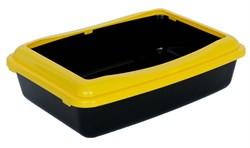 Туалет 41х30х11см Шурум-Бурум черный с желтым бортиком для кошек  - фото 6170