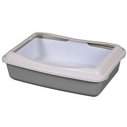 Туалет 41х30х11см Шурум-Бурум серый с бортиком и сеткой для кошек (А970) - фото 6176