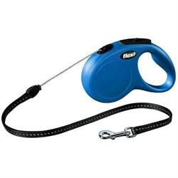 Рулетка 5м Flexi New Classic S синяя с тросом для собак 12кг(022511) - фото 6477