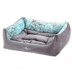 Лежанка квадратная 50х43х19см JOY Spring серебристая для собак - фото 7130