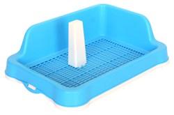 Туалет 48х34х14,5см Шурум-Бурум голубой с угловым бортиком и столбиком для собак  - фото 7206