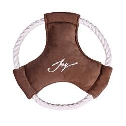 Тарелка Фрисби D20см JOY текстильная игрушка коричневая для собак - фото 7338