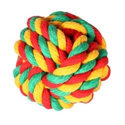 Мяч плетеный 14см JOY текстильная игрушка для собак - фото 7474
