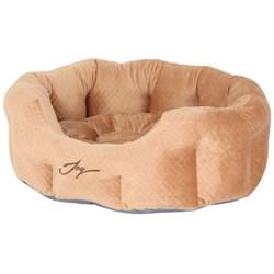 Лежанка круглая 50х40х20см JOY бежевый бархат для собак - фото 7496