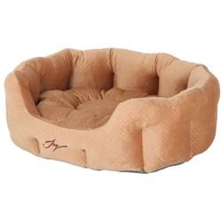 Лежанка круглая 60х50х21см JOY бежевый бархат для собак - фото 7498
