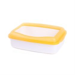 Туалет 41,5х31х12см Шурум-Бурум белый с желтым бортиком для кошки (P952) - фото 7583