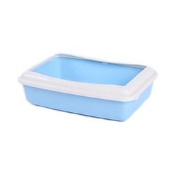 Туалет 41х30х11,7см Шурум-Бурум голубой с бортиком для кошек (А951) - фото 7585