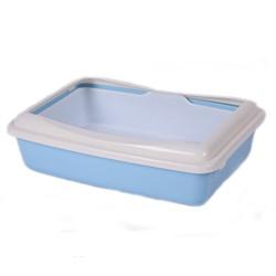 Туалет 41х30х11см Шурум-Бурум голубой с бортиком и сеткой для кошек (А970) - фото 7591