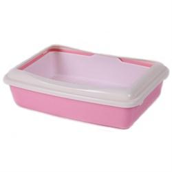 Туалет 41х30х11см Шурум-Бурум розовый с бортиком и сеткой для кошек (А970) - фото 7592