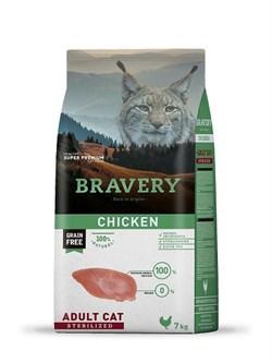 Корм 7кг BRAVERY курица для стерилизованных кошек - фото 7639