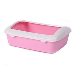 Туалет 41х30х14см Шурум-Бурум розовый с бортиком для кошек (Р547) - фото 7656