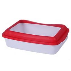 Туалет 41х31х13см Шурум-Бурум белый с красным бортиком для кошек (Р952) - фото 7657