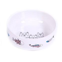 """Миска 12,5 380мл JOY """"Коты с рыбками"""" керамическая белая для кошек - фото 7759"""
