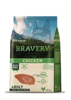 Корм 12кг BRAVERY курица для собак крупных и средних пород - фото 7763