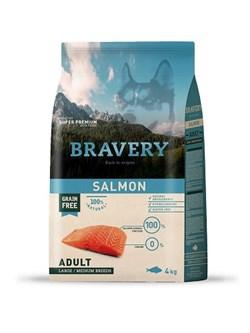 Корм 4кг BRAVERY лосось для собак крупных и средних пород  - фото 7765