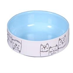 """Миска 12,5см 380мл JOY """"3 кота"""" керамическая голубая для кошек - фото 7941"""