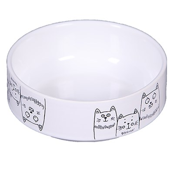 """Миска 12,5см 380мл JOY """"3 кота"""" керамическая белая для кошек - фото 7946"""